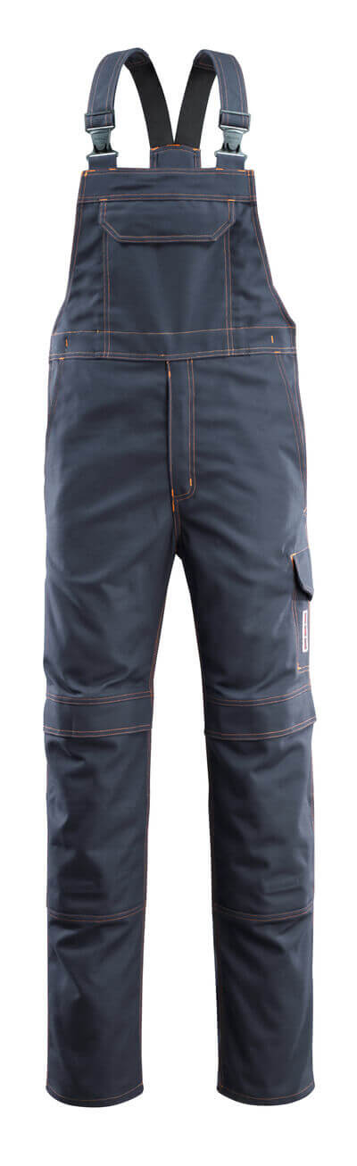 06669-135-010 Bib & Brace with kneepad pockets - dark navy