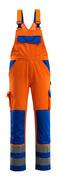 07169-860-1411 Bib & Brace with kneepad pockets - hi-vis orange/royal