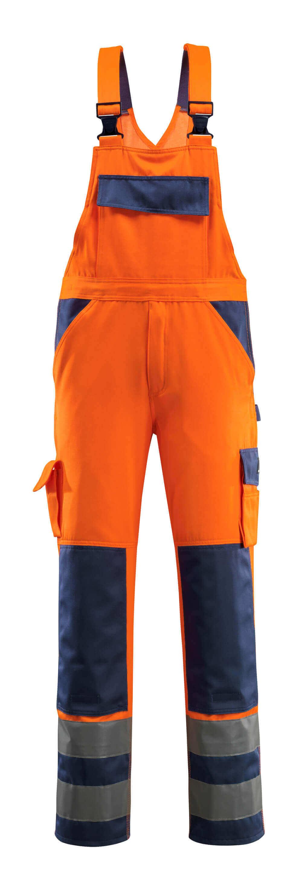 07169-860-141 Bib & Brace with kneepad pockets - hi-vis orange/navy