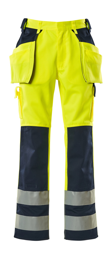 09131-470-171 Trousers with kneepad pockets and holster pockets - hi-vis yellow/navy