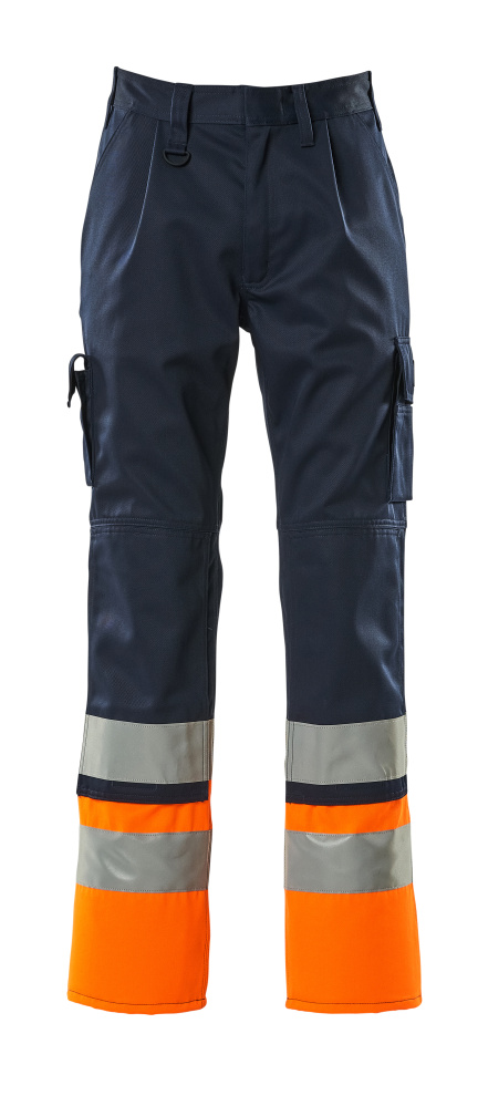 12379-430-0114 Trousers with kneepad pockets - navy/hi-vis orange