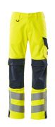 13879-216-17010 Trousers with kneepad pockets - hi-vis yellow/dark navy