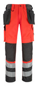 14931-860-A49 Trousers with kneepad pockets and holster pockets - hi-vis red/dark anthracite