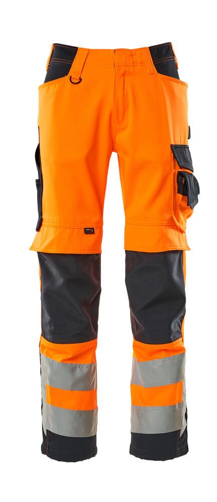 15579-860-14010 Trousers with kneepad pockets - hi-vis orange/dark navy