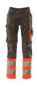 15679-860-01014 Trousers with kneepad pockets - dark navy/hi-vis orange