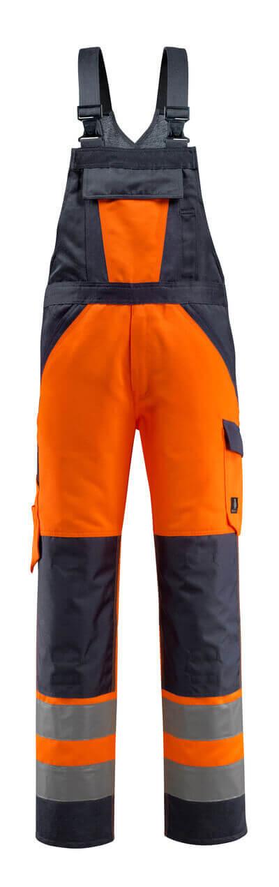 15969-948-14010 Bib & Brace with kneepad pockets - hi-vis orange/dark navy