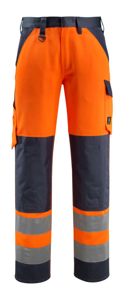 15979-948-17010 Trousers with kneepad pockets - hi-vis yellow/dark navy