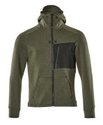 17384-319-3309 Hoodie with zipper - moss green/black