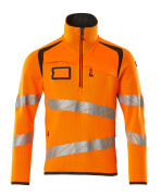19005-351-1418 Knitted Jumper with half zip - hi-vis orange/dark anthracite