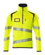 19005-351-17010 Knitted Jumper with half zip - hi-vis yellow/dark navy