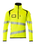 19005-351-1709 Knitted Jumper with half zip - hi-vis yellow/black