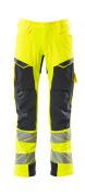 19079-511-14010 Trousers with kneepad pockets - hi-vis orange/dark navy
