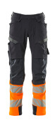 19179-511-01014 Trousers with kneepad pockets - dark navy/hi-vis orange