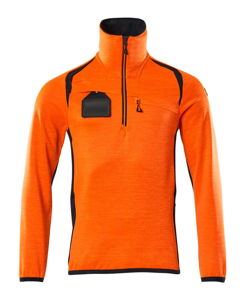 19303-316-14010 Fleece Jumper with half zip - hi-vis orange/dark navy