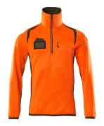 19303-316-1433 Fleece Jumper with half zip - hi-vis orange/moss green