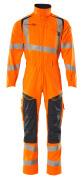 19519-236-14010 Boilersuit with kneepad pockets - hi-vis orange/dark navy