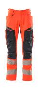 19579-236-14010 Trousers with kneepad pockets - hi-vis orange/dark navy