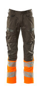 19679-236-01014 Trousers with kneepad pockets - dark navy/hi-vis orange