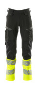 19879-711-01017 Trousers with kneepad pockets - dark navy/hi-vis yellow