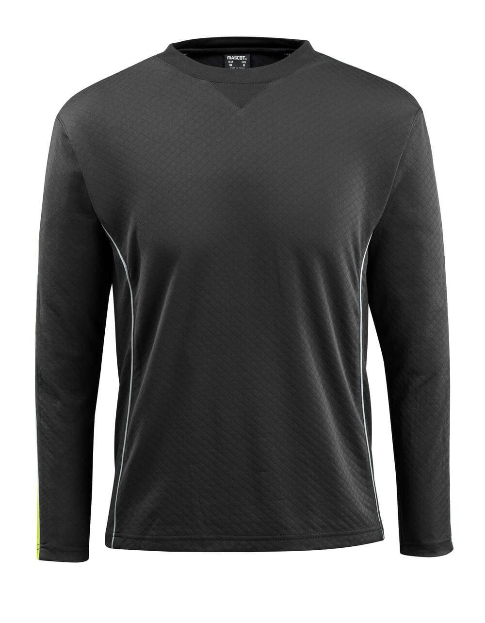 50128-933-0917 T-shirt, long-sleeved - black/high-visibility hi-vis yellow